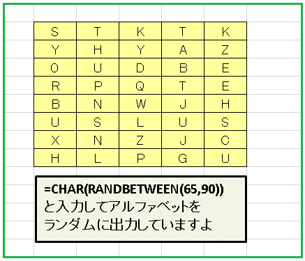 Excel無作為アルファベット