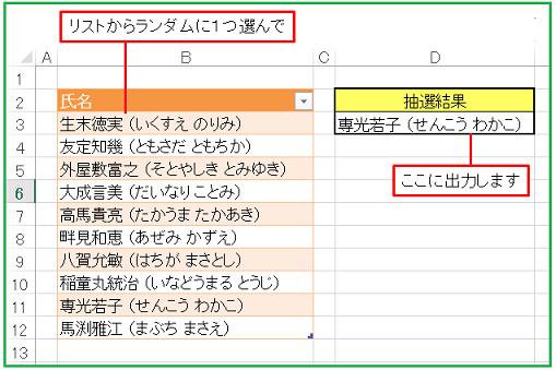 Excel-VBA抽選マクロ(籤引きプロシージャ)