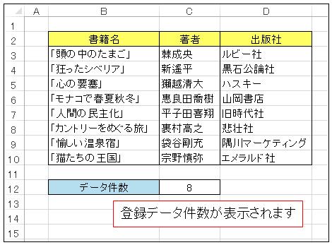 CurrentRegionプロパティで登録データ件数を表示