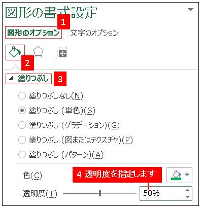 Excel図形の書式設定で透明度を設定する