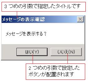 VBA MsgBox関数 メッセージの表示確認