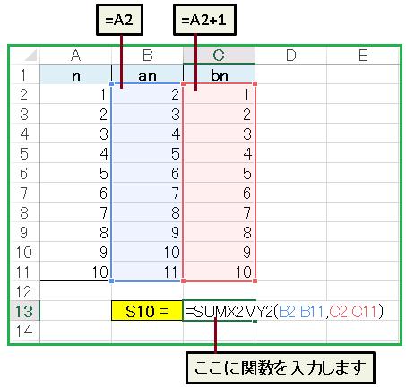 エクセル関数SUMX2MY2