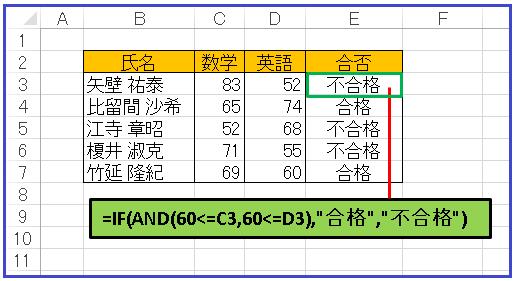 エクセル合否判定シート②