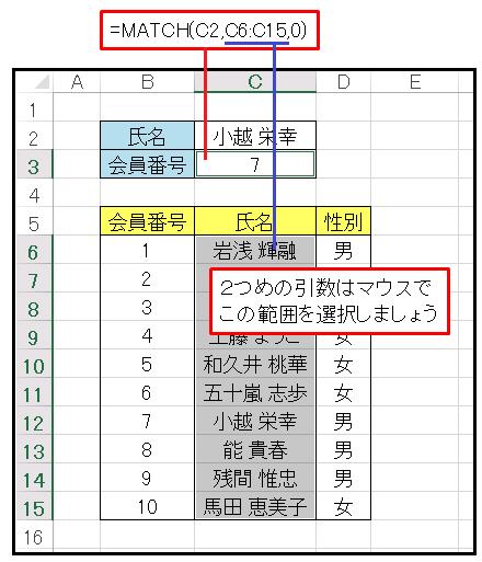 Excel氏名と会員番号の表を貼りつける