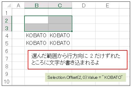 VBAのOffsetプロパティで位置をずらして文字を書き込みます
