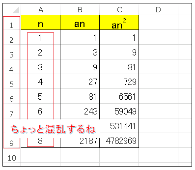 Excel 数列のシート