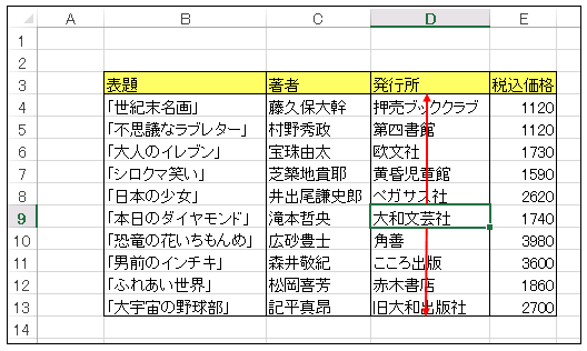 選択セルを含む列データを 1 次元配列に入れるプロシージャ