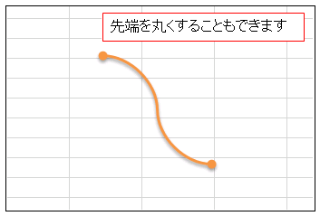 Excel コネクタの両端を丸くする